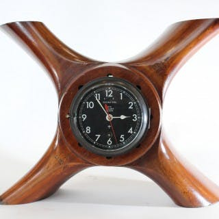 WW1 wooden Propeller mounted with a clock