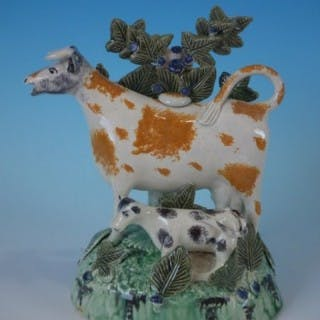 Staffordshire Prattware cow & calf creamer with bocage