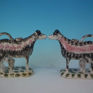Pair Staffordshire Pearlware cow & milkmaid creamers