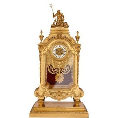 Large antique ormolu mantel clock by Ferdinand Barbedienne
