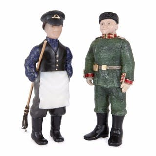 Two Fabergé style Russian hardstone figures of men in uniforms