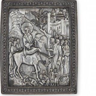 Russian silver icon depicting Christ entering Jerusalem