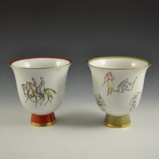 """Equestrian games"" and ""Golf"": vases by Giò Ponti"