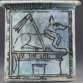 Egyptian Pectoral Shrine Pendant with Anubis