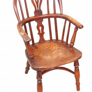 Antique 19th Century Yew Childs Windsor Chair