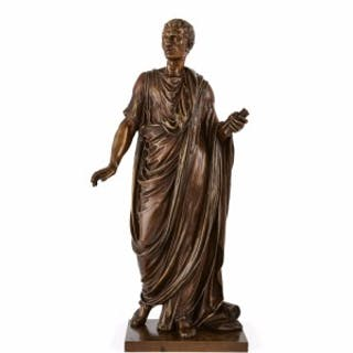 Patinated bronze sculpture of a Roman emperor by Mathurin Moreau