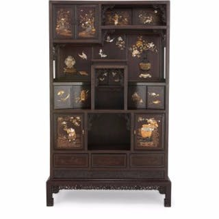 Antique Japanese mother-of-pearl and ivory inlaid hardwood cabinet
