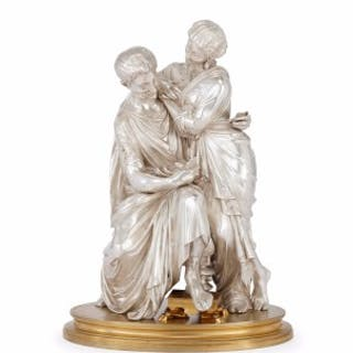 Silvered and gilt bronze antique French figural group of a couple
