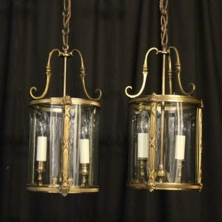 French Pair Of Twin Light Antique Lanterns