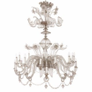 Monumental Murano glass antique twenty-two-light chandelier with floral