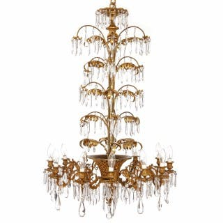 Belle Epoque style French gilt bronze and cut glass antique twelve-light