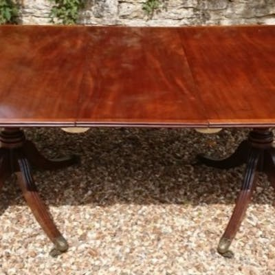 George III Period 18th Century Mahogany Twin Pedestal Antique Dining