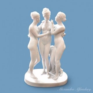 A White Bisque Porcelain Group of The Three Graces