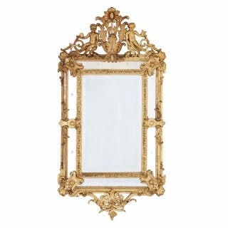 French Baroque style antique giltwood mirror