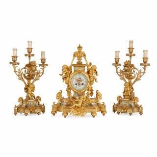 Ormolu mounted Sèvres style porcelain three piece clock set by Le Roy et Fils