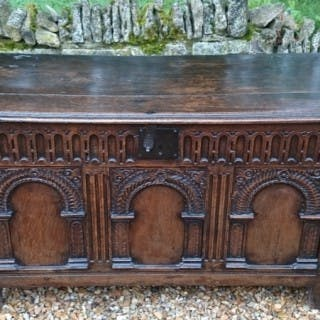 17th Century Antique Oak Coffer With Unusually FIne Carving