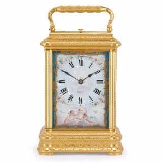 Large French Drocourt carriage clock with Sèvres porcelain panels