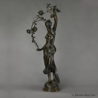 'Grand Nu Aux Feuillages' - Patinated Figural Group