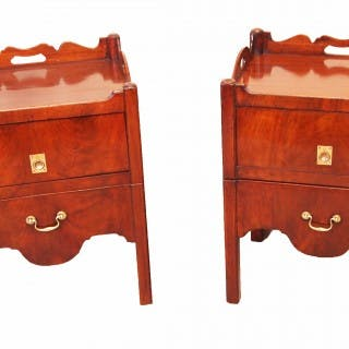 Antique 18th Century Pair Tray Top Commodes Or Bedside Tables