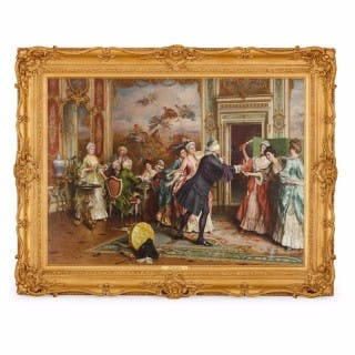 19th Century Italian oil painting, 'Blindman's Bluff' by Arturo Ricci