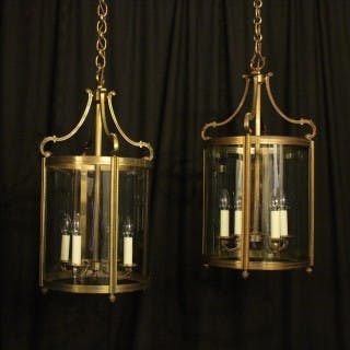 French Gilded Pair Bronze Antique Lanterns