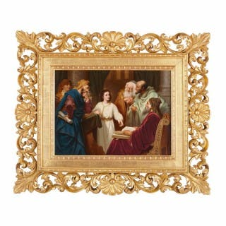 Large antique porcelain plaque depicting Christ in the Temple, by KPM porcelain