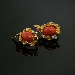 A pair 18 karat yellow gold and coral earrings, by Gilbert Albert