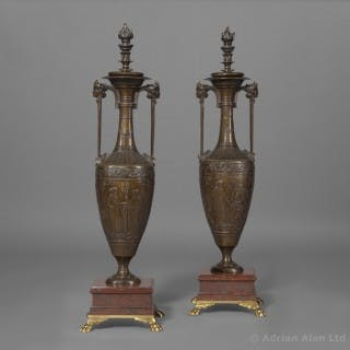 A Fine Pair of Classical Revival Patinated Bronze Vases, Designed