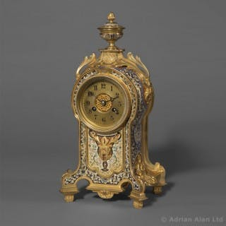 A Fine Gilt-Bronze and Champlevé Enamel Clock