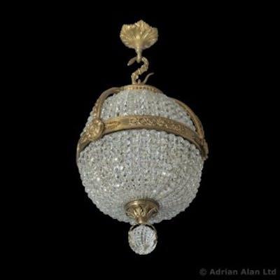 An Empire Revival Gilt-Bronze and Cut-Glass Pendant Chandelier