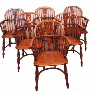Antique 19th Century Matched Set Of Six Yew Wood Windsor Chairs