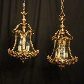 Italian Pair 4 Light Bronze Cherub Lanterns