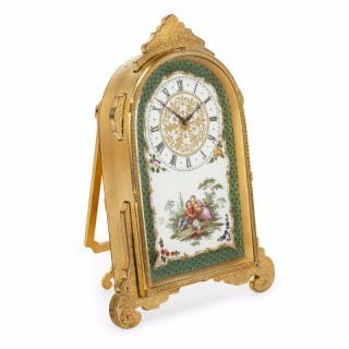 19th Century Victorian strut clock of porcelain and gilt brass