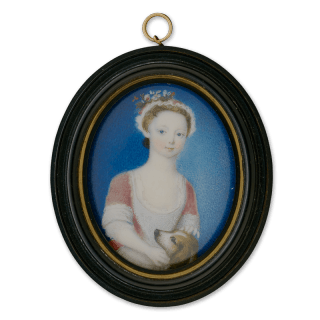 Portrait miniature of Catherine Beresford (b.c.1725), wearing a red