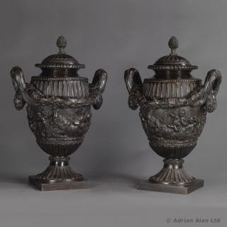 Louis XVI Style Finely Cast and Patinated Bronze Urns and Covers