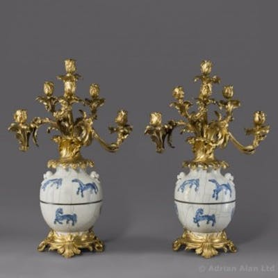 Pair of Chinese Porcelain Vases Mounted As Candelabra