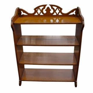Antique Oak Gothic Revival Open Book Case
