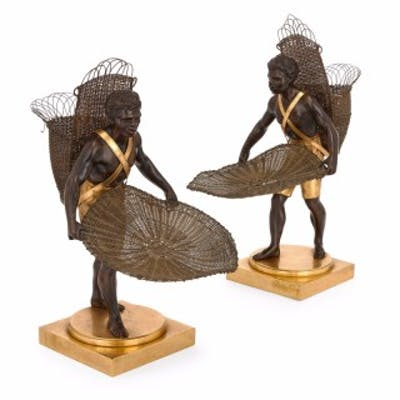 Pair of ormolu and patinated bronze models of Nubian figures