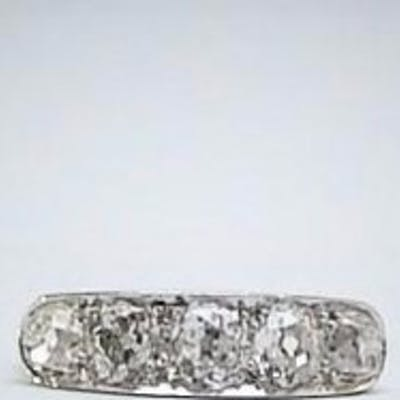 Platinum Five Stone Diamond Art Deco Ring