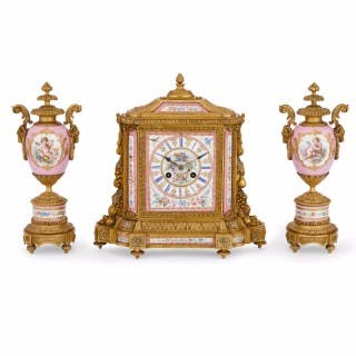 Louis XVI Style Ormolu and Pink Porcelain Antique Clock Set