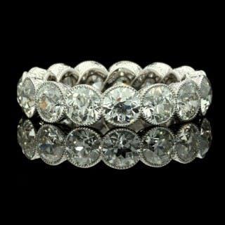 Hancocks Platinum Diamond full Eternity Ring set with 4.90 carats