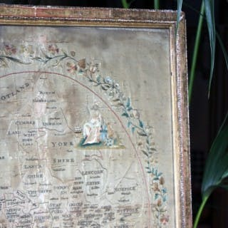 A Very Pretty Early 19thC Embroidered Silkwork Map Picture of England c.1800-20