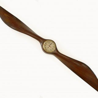 Biplane Wooden Aircraft Propeller with clock