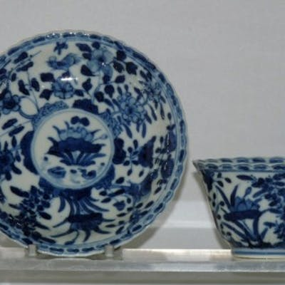 kangx Blue and White Porcelain Tea Bowl and Saucer