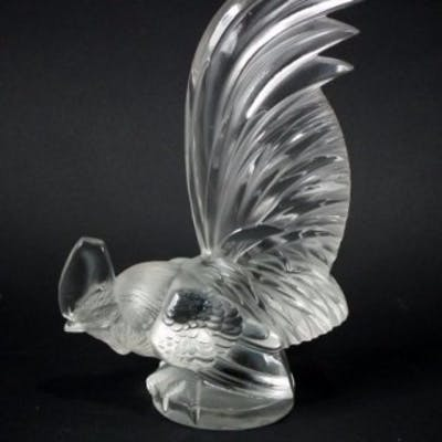 Rene Lalique Clear and frosted Glass 'Coq Nain' Mascot