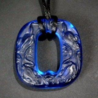 Rene Lalique Electric blue Glass 'Grenouilles' Pendant