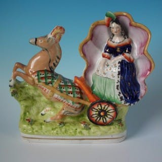 Staffordshire Cinderella in Horsedrawn Carriage Figure