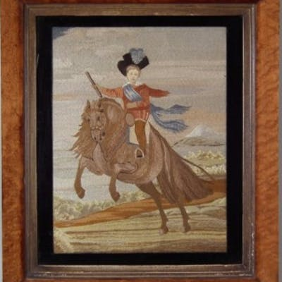 Embroidered Silkwork Picture of Boy on A Horse