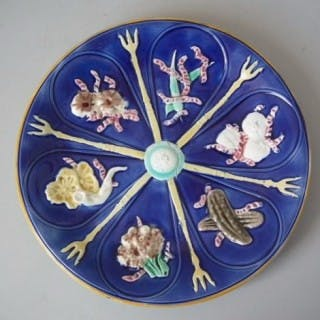 Wedgwood Majolica Plate with Vegetable Decoration