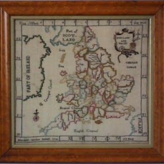 Antique Map Sampler, 1783, by Elizabeth Caroline Foskett